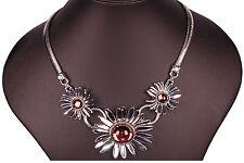 Damen Collier Silber Halskette Statement Ketten Strass Choker Anhänger Halsband