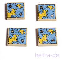 LEGO - 4 x Fliese 2x2 beige mit Piraten Schatzkarte 3068bpb0929 NEUWARE (e3)