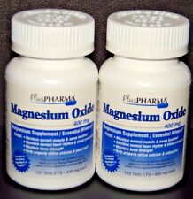 PlusPharma Magnesium Oxide 400mg Tablets (Compare to MagOx) 120ct -2 Pack