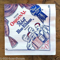 2 Vintage Original Old PABST BLUE RIBBON BEER Paper Napkins NOS 1950s Unused