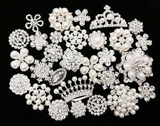10 Mixed Silver Flat Back Button Crystal Pearl Rhinestone Embellishment Button