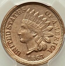 1863 PCGS MS62 COPPER NICKLE INDIAN HEAD CENT- VERY CLEAR SURFACES / REAL BEAUTY