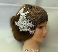 birdcage veil w Lace fascinator,Ivory White Diamonte Pearls Bridal veil,Blusher
