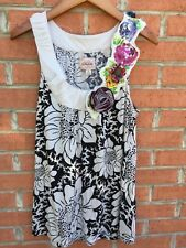 Anthropologie Deletta Womens Tank Top Cotton Floral Flower Embellishment Size M