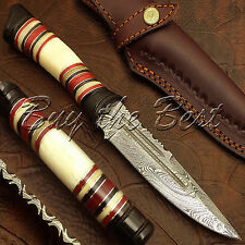 BEAUTIFUL CUSTOM HAND MADE DAMASCUS SKINNER HUNTING BOWIE KNIFE   BONE & HORN