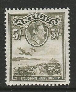 Antigua 1938-51 5/- Grey-olive shade CW 10a Mint.