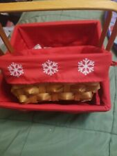 Set of 2 holiday Nesting Baskets With Handles Snowflake Liners New