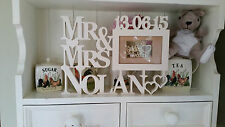 Personalised Wedding Frame Mr&Mrs Picture Engraved Photo Wood Name Gift