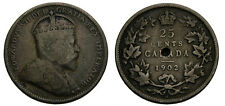 1902 Canada 25 Cents Twenty-Five Cents Silver Quarter Hole VG-10 Trends for $30