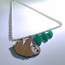 Laser cut sloth necklace by AsBeAu 💚