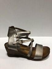 Miz Mooz Shay Womens Wedge Sandals Nickel Silver 40eu 9-9.5 M