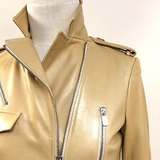 MICHAEL KORS Amber Leather Zip Accents Belted Trench Coat Sz4
