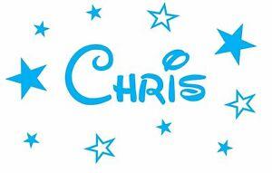 Personalised Name Stars Disney Font Wall Art Custom Girls Bedroom Vinyl  Sticker