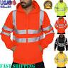 Brief Men's Road Work High Visibility Long Sleeve Hooded Sweatshirt Blouse Y88