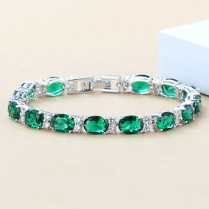 Emerald Bracelet Tennis-Style 14K White Gold-Filled / Diamond Accents / Oval-Cut