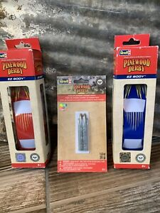 Revell Pinewood Derby Lot Of 2 Cars & One Stick On Chassis Weight New