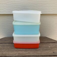 4- VTG TUPPERWARE Sandwich/Pie Keepers + Freezer Square Round in RED WHITE BLUE