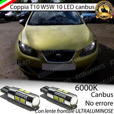 COPPIA LUCI POSIZIONE 10 LED PER SEAT IBIZA (6J) T10 W5W CANBUS 6000K  BIANCO