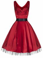 New Glamorous 40's 1950's Sweetheart Red Silky Party Prom Cocktail Dress 8 - 26