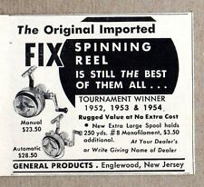 1954 Print Ad Fix Spinning Fishing Reels General Products Made in Englewood,NJ