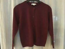 Marie Chantal. girls cardigan, burgundy, 100% extra fine merino wool, 10 y