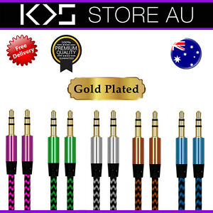 AUX Cable Braided 3.5mm Audio for Car Phone Cord Male to Male Auxiliary  - AUS