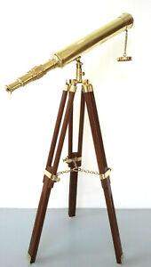 "Marine navy Nautical Brass 18"" Telescope Single Barrel w/wooden Tripod Stand"