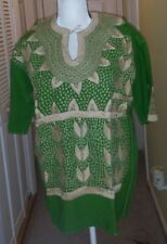Maya Mexican Blouse Top Shirt Embroidered Flowers Corn Chiapas Green Medium N1