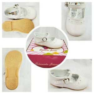 New Girl White Leather shoes with Buckle & Heart Design: Size 3 to 12 Toddler