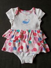 M&S 100%Cotton Tiered Frilled Whale Romper Dress 0-1m 54cm Pink Mix BNWoT