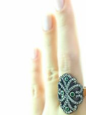 Turkish Ottoman 925 Sterling Silver Jewellery Authentic Emerald Ring S 7.5 R2386