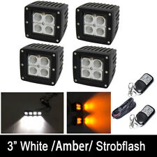 "4x 3"" 24W Amber/White/Strobe Dual Colors LED Work Light Flood Beam Pods + Wiring"
