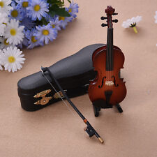 Mini Violin Miniature Musical Instruments Wooden Model With Support Case