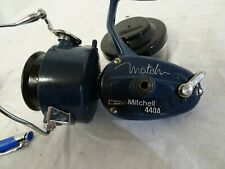 VINTAGE BLUE MITCHELL 440A MATCH REEL AUTO BAIL ARM FINGER DAB  + 2 SPOOLS