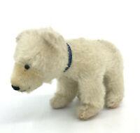 Steiff Polar Bear on all fours Mohair Plush 12cm 5in 1960s Repairs to Pads Vtg