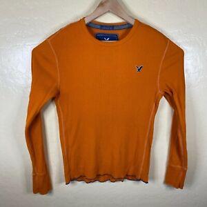 American Eagle T Shirt Mens Medium Long Sleeve Thermal Waffle Vintage Fit Orange