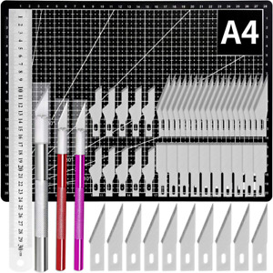 Kit 54 Exacto Knife Set Blades Refill Ruler Xacto For Craft Crafting And Cutting