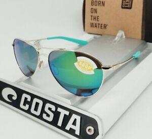 """COSTA DEL MAR gold/green mirror """"PIPER"""" POLARIZED 580P sunglasses! NEW IN BOX!"""