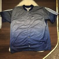Adidas 3 Stripe Vented Button Up Men's XL Blue Short Sleeve Shirt Made In USA