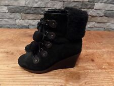 Cole Haan Nike Air Wedge Boots Black Suede Pom Poms Lace Up Women's Size 6