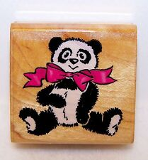 NEW Vintage COMOTION Wood Rubber Stamp #748 PANDA WITH BOW Never Used Clean Read