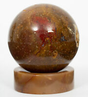 """Fossil Coral sphere agatized 1.57"""" with stand crystal ball #561T INDONESIA"""