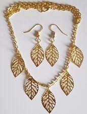 Placcato oro grandi Aperto Foglia Collana Grande Ciondolo e Orecchini Set + Sacchetto Regalo