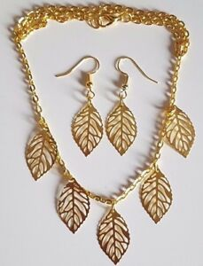 Gold Plated Large Filigree Leaf Necklace Pendant and Earrings Set Gift Wrapped