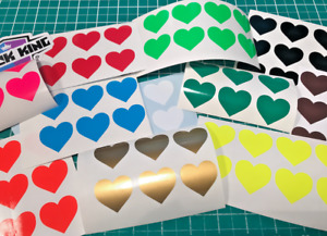 40 x Heart Shaped Colour Code Labels Sticky Self-Adhesive Vinyl Stickers 30mm