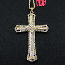 New Betsey Johnson White Rhinestone Cross Pendant Crystal Pendant Necklace