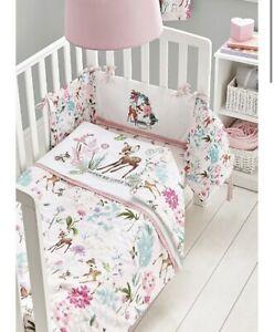 Disney Bambi Pink Girl's Cot & Cot Bed Bedding 4tog Quilt Nursery 120 X 100cm