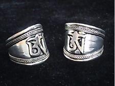 2PCS -- Wide Vintage Adjustable Tibetan Carved Mantra OM Weaving Amulet Ring