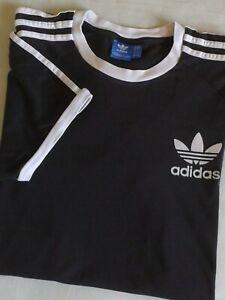 Adidas Classic 3 White Stripe Black T-Shirt Men's Size XL Retro Look
