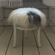 100% Genuine Real Sheepskin Seat Pad Icelandic Roundie 35cm Creams / Greys